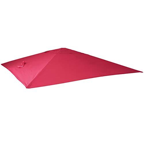 Mendler Bezug Ampelschirm HWC-A96, Sonnenschirmbezug Ersatzbezug, 3x3m (Ø4,24m) Polyester 2,7kg ~ Bordeaux