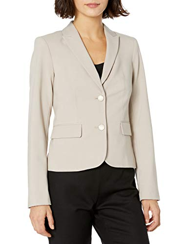 Calvin Klein Women's 2 Button Suit Jacket, Khaki, 2