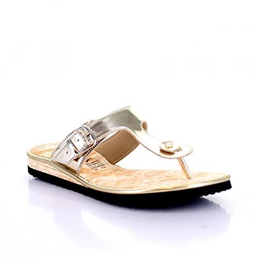 Muzza Sandalia Piso para Mujer, 112 en Color Oro con Acabado Espejo y Suela Na; Perfecto para Primavera Verano - Talla 24.