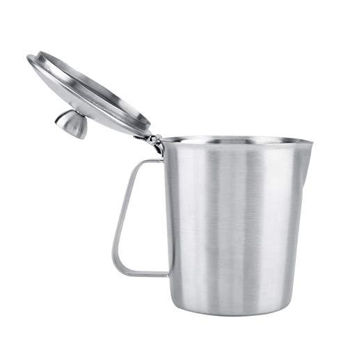 Jarra de leche, jarra de espuma, acero inoxidable con acabado de espejo, plata duradera para café, accesorio de café para el hogar con tapa y medida(500ML)
