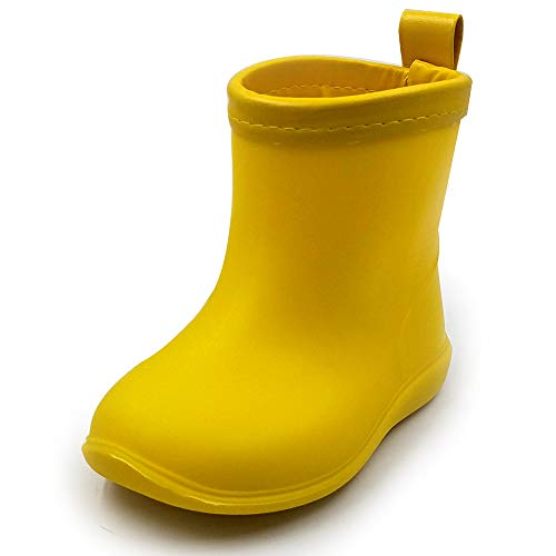 Toddler Rain Boots Baby Rain Boots Short rain Boots for Toddler Easy-on Lightweight and Waterproof Yellow