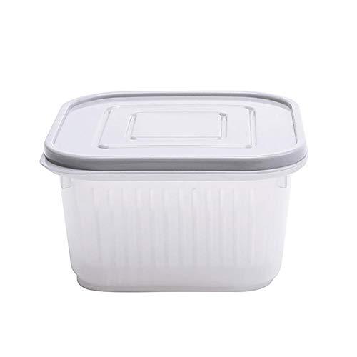 Wimagic - Botes de plástico Transparente para Alimentos con Tapa de Drenaje, Color Gris