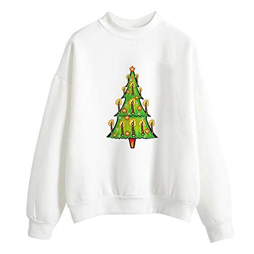 YWLINK Damen Einfarbig Weihnachtsbaum Niedlich Drucken Lange ÄRmel Bluse Frauen Pullover Tops Hemd Sweatshirt(XXL, F-Weiß)