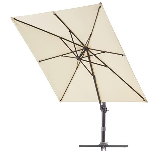 VINEY Boulevard 9x9 ft. Square Aluminum Cantilever Umbrella Offset Patio Umbrella Outdoor Market Umbrellas | 360° Rotation & Infinite Tilting System | Fade Resistant Solution Dyed Canopy (Beige)