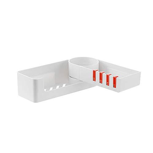 Fornorm badkamerrek, 180 graden draaibaar hoekrek, badkamerorganisator, plankhouder voor badkeuken, zonder gaten, verborgen haken, drainagelage overige M Oranjekleurige haak