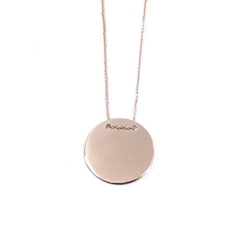Remi Bijou - 2,5 cm - Prachtige ketting halsketting hanger - gravureplaat gravure munt ronde schijf - roségoud