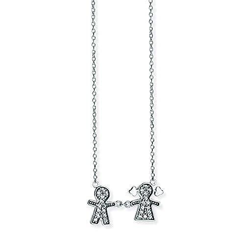 Aeon - Collar con colgante de plata de ley para hijo e hija con circonitas cúbicas, ajustable de 15 pulgadas + extensor de 2 pulgadas hipoalergénico plata 925 para mujer