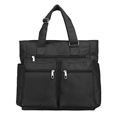 Canvas Tote Bag Waterproof Nylon Multi Pocket Shoulder Bags Laptop Work Bag Teacher Purse and Handbags for Women & Men (Black)