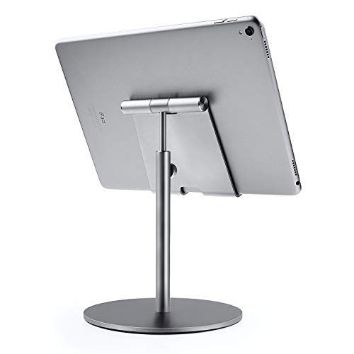 """QinCoon Soporte Tablet, Soporte de Gran Tamaño y Altura Ajustable y de Aluminio, Stand Mesa Giratorio de 360°, Aplicable para iPad, Samsung Tab, Kindle (4-13\"""") (Gris)"""