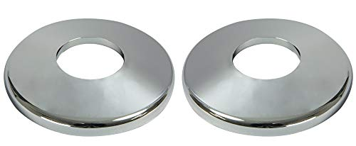 Aqua Select Escutcheon Plate Set for Inground Swimming Pool Or Spa Hand Rail   Inground Pool Plastic Plates for Pool Ladder   Corrosion Resistant   Chrome Colored Plastic   Set of 2