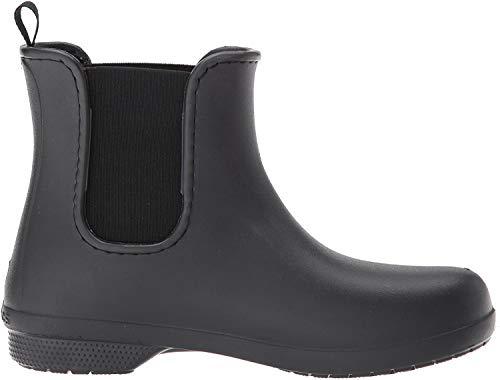 Crocs Women's Freesail Chelsea Ankle Rain Boots Water Shoes, Black/Black, 4 M US