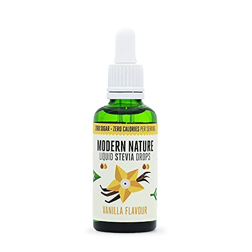 Stevia Liquid Drops Sweetener, Flavoured Stevia Drops from Pure Stevia Extract, Vanilla Flavour, 50ml - Modern Nature