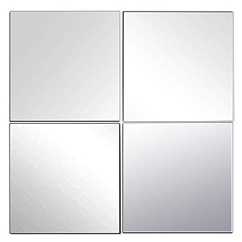EDGEWOOD Parkwood Wall Mirrors Flexible Real Glass Flat Frameless 4-Piece Set, 14x14 Inches