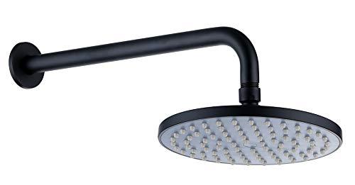 Derengge SHR3285MT 8 Inch Round Rain Showerhead with 14 Inch Shower Arm Matte Black