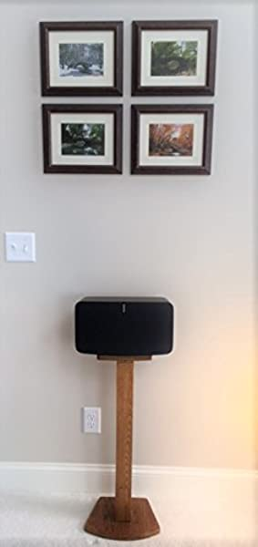 Beautiful Wood Speaker Stand Handcrafted For SONOS Play 5 2nd Generation Made In U S A Single Stand Oak Color