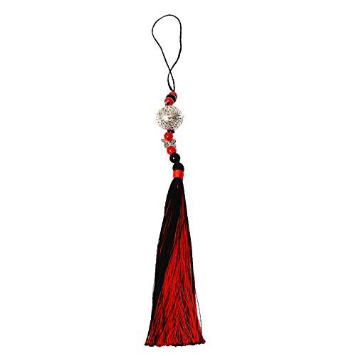 Exceart 1 peça de pingente de borla antiga estilo chinês acessórios de enfeite para pendurar sino de prata para bolsa chaveiro cortina decoração interna
