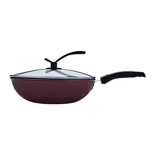 Dfghbn Sartén Antiadherentes Woks Handle sartén con el Vidrio de Cubierta de Acero Inoxidable Stir Fry Pans 32 CM Sartenes para Saltear (Color : Black, Size : 32cm)