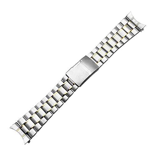 MAYALI Banda de reloj de acero inoxidable 16mm 18 mm 20 mm 22 mm 24 mm de pulsera de correa de pulsera Curved Fin de la correa de la correa de la hebilla plegable del reemplazo del cinturón de la muñe