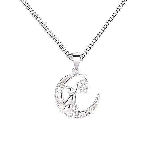 Baobei Collar de gato para mujer de plata de ley 925 con circonita cúbica de gato en la luna y con colgante de estrella de ensueño, regalo para mujeres y niñas