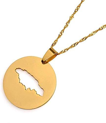 LBBYMX Co.,ltd Collar de Moda Redondo Mapa de Jamaica Collares Pendientes Joyería de Color Oro de Jamaica