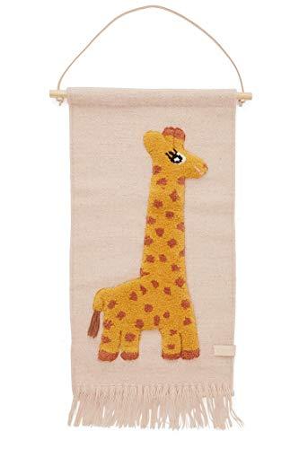 OYOY Mini - Wandteppich Giraffe - Kinderzimmer Wanddeko für Jungen und Mädchen - Wolle-Baumwolle-Mix - 70x32 cm