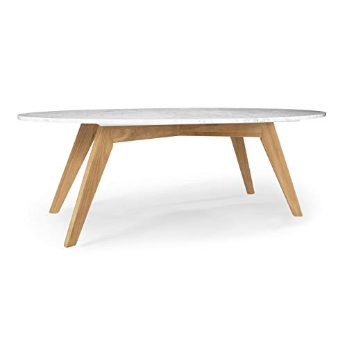 Poly and Bark Riley Marble Oval Coffee Table in Natural