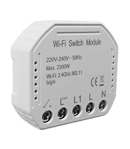 Deviatore WiFi wireless smart switch modulo da incasso compatibile con Alexa, Google Home, iOS, Android, IFTTT a controllo vocale per uso da uno o più punti anche con altri deviatori e invertitori