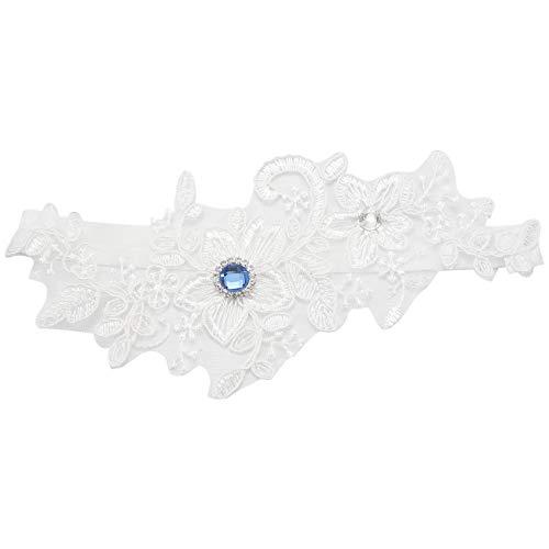 Heritan Liga de boda azul Rhinestone blanco bordado floral sexy ligas para...