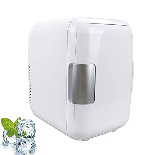 HONGRU Mini Fridge for Bedrooms Quiet, 4L Portable Beer Fridge Cooler and Warmer for Food, Beverages, Skincare - Use at Home, Office, Dorm, Car - AC & DC Plugs Included (White)