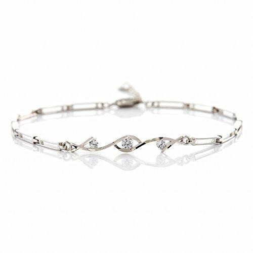 AMYHOME Pulsera brazalete de plata de ley S925 con 3 circones brillantes 18cm+3.5cm cadena estilo de bambú joyería para mujer joya de moda, Blanco