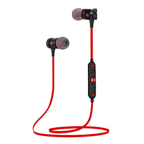 Bluetooth Headphones, AWEI V4.2 in-Ear Earphones, IPX5 Sweatproof Wireless Earbuds with Microphone Isolation of Noise, Richer Bass HiFi 8-Hrs Battery, Magnetic Sports Headsets (Red)