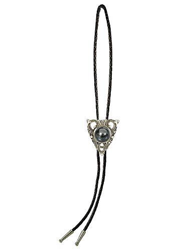 Sunrise Outlet Men's Western Bolo Tie Silver Tone Triangle with Mirrored Stone with Black Leatherette - 18 inch hang