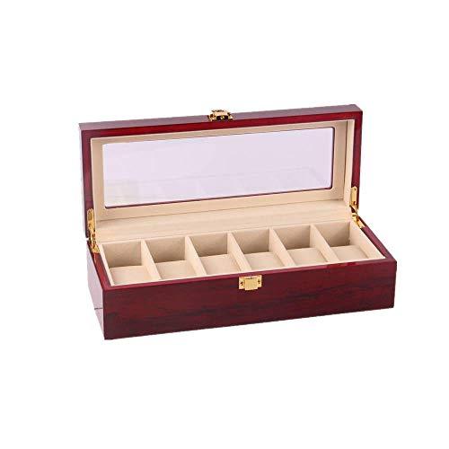 Caja para Relojes Hombre Cajas para Joyas Mujer Caja Relojes Regalo Caja de Almacenamiento de Madera de Nogal Madera con 6 Tapas 31 * 11 * 8Cm, Rojo Vino