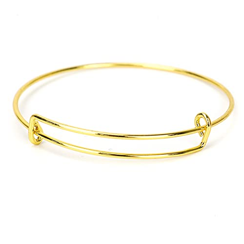 Timoo 20 Pcs Metal Blank Bangles, Stainless Steel Adjustable Expandable Wire Blank Bracelets for Womens DIY Jewelry Making (Gold, 2.56inches)
