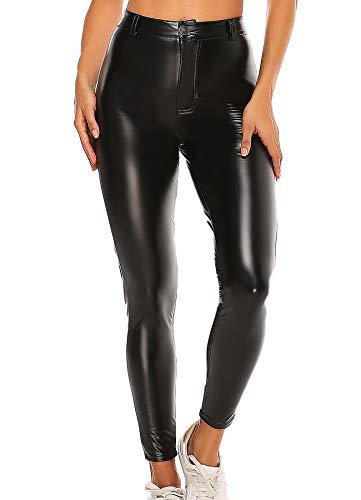 INSTINNCT Damen Kunstleder High Waist Leggings Skinny PU Leder Hose Leder-Optik Strumpfhosen Treggings Schwarz-2 L