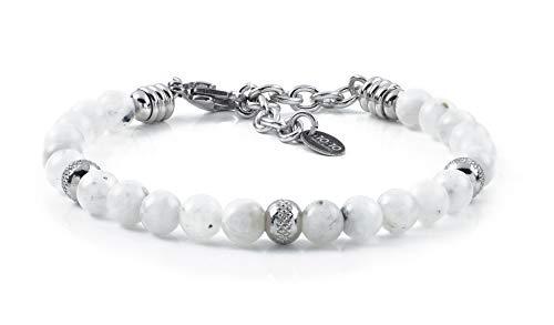 10:10 Bracciale con Pietre di Luna Naturali da 6 mm, Beads in Acciaio Inox, Bracciale Molto Resistente Prodotto in Italia