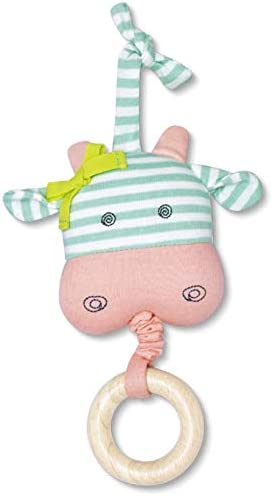 Organic Farm Buddies Belle Cow Waggle Toy for Newborns, Infants, Toddlers - Hypoallergenic, 100% Organic Cotton