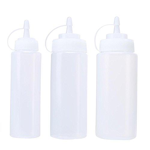 Gemini _ Mall® confezione da 3 bottiglie con tappi di plastica, Best dispenser per casa e ristorante ketchup, senape, maionese, salse, olio d' oliva, BBQ sauce- senza BPA 8+12+16 Oz White