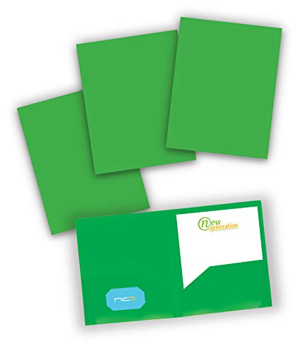 NEW GENERATION - Green Folders - 2 Pocket Plastic Folders, Durable Heavy Duty Letter Size School Poly Portfolio with Pockets, Great to Use at Office, Home or Storage