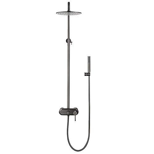 Sistema de ducha con agua fría y caliente Juego combinado de ducha de baño Juego de grifo de ducha multifunción con cabezal de ducha de lluvia de latón de 8 pulgadas, ducha de mano, grifo de bañe