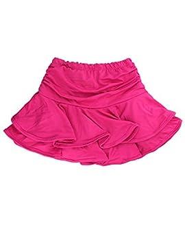 Daydance Hot Pink Girl s Dance Skirt Latin Ballroom Samba Tango Practice Dress with Boy Shorts 7 Colors