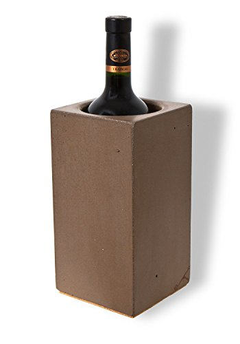 Angle 33 - Thermal Wine Cooler Chiller - Unique Personalized Wine Accessories for Women or Men - Single Red or White Wine Bottle Cooler Chiller Bucket - Made of Stone Concrete - Handcrafted in USA