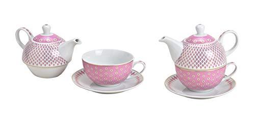 Tea for One Set mit Retro Design in rosa ( Kanne & Tasse & Untertasse )