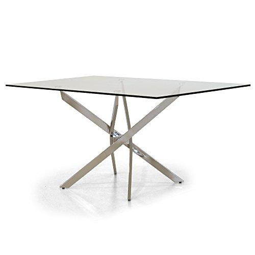 Italian Concept 208 Tavolo Royal, Metallo Cromato, Vetro temperato, 160 x 90 x 75 cm