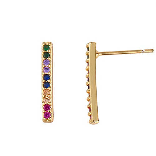 Ningz0l Oorbellen voor dames, oorsieraden, Color Zirconia Micro Inlay geometrische Lightning Wild Temperament Ear Pin Jewelry Female Rechthoekig.