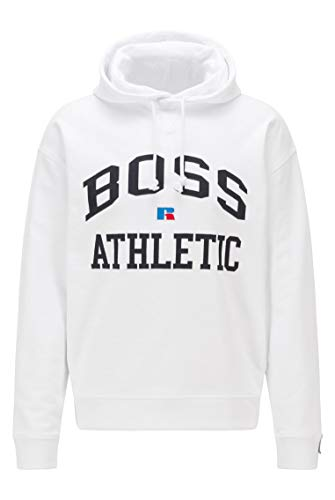 BOSS Sudadera con capucha para hombre Safa RA de algodón orgánico con logotipo exclusivo Blanco L