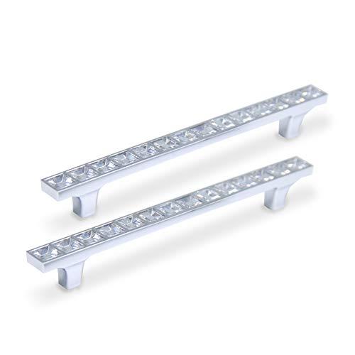 CAMAL Tiradores, 2pcs Forma de Puente Cristal Estilo Europa Rhinestone Aleación de Aluminio Puerta del Mueble Tiradores (128mm,5,04 Pulgadas)