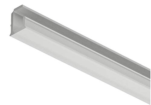 Gedotec inbouwprofiel gebogen 5 mm kunststof profiel 3000 mm profiellijst voor LED-strips - Loox5 | Profiel 1102 | Lichtrail zwart geanodiseerd | 1 stuks - LED-rail voor meubels - muur & plafond modern 1 Stück - Profil silber eloxiert zilver, mat, geanodiseerd