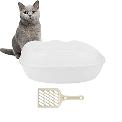 Semi-Closed Pet Cat Litter Box Plastic Spill Resistant Tray Toilet Potty Removable Shell with Shovel No Residue Build up(White)