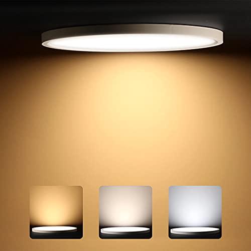 LED Lámpara de Techo, 24W Plafón Led de Techo Redonda Ultra Delgado Φ30cm 3200LM Blanco Natural Cálido Ajustable, LED Plafón para Baño Dormitorio Cocina Sala de Estar Comedor Balcón